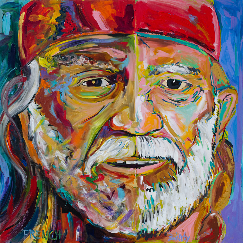 Willie Nelson portrait painting by Frenchy